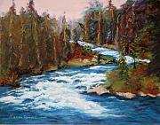 White River Pastels Prints - White Water Print by Marion Derrett