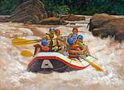 River Rafting Art Print Posters - White Water Rafting Poster by Carole Weaver