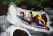 White Water Rafting Paintings - White Water Rafting by Sushobha Jenner