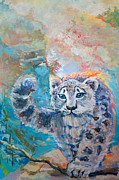 Wildcats Paintings - White wild cat by Anna Zagornaya