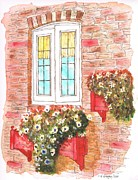 Post Cards Painting Originals - White window by Carlos G Groppa