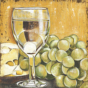 White Grapes Paintings - White Wine And Cheese by Debbie DeWitt