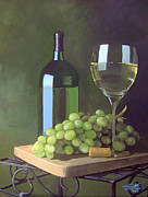 White Grapes Paintings - White Wine and Grapes by Jill Roberts