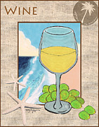 White Wine Beachside Print by William Depaula