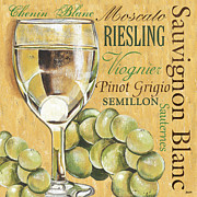 Blue Grapes Painting Prints - White Wine Text Print by Debbie DeWitt