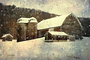 Country Scenes Digital Art Metal Prints - White Winter Barn Metal Print by Christina Rollo