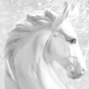 Muted Mixed Media Prints - White Winter Horse 1 Print by Tony Rubino