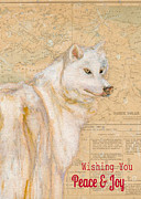 Map Paintings - White Winter Wolf by Andrea LaHue