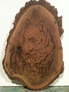 Wolf Pyrography - White Wolf by Denise Tomasura