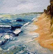 Shoreline Paintings - Whitecaps on Lake Michigan 3.0 by Michelle Calkins