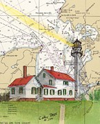 Whitefish Posters - Whitefish Pt Lighthouse MI Nautical Chart Map Art Cathy Peek Poster by Cathy Peek