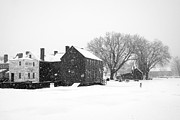 England Town Framed Prints - Whiteout at Strawbery Banke Framed Print by Eric Gendron