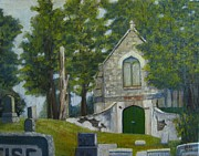Headstones Painting Prints - Whiter Shade of Pale Print by Bibi Snelderwaard Brion