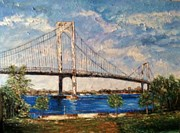 Park Benches Painting Posters - Whitestone Bridge Poster by Helen Wendle