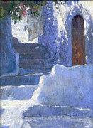 Old Door Pastels - Whitewashed Steps  by Jackie Simmonds