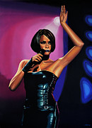 Singer Painting Posters - Whitney Houston 2 Poster by Paul  Meijering