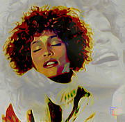 Print On Canvas Digital Art Framed Prints - Whitney Houston Framed Print by Byron Fli Walker