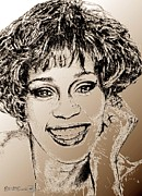 Hand Drawings Framed Prints - Whitney Houston in 1992 Framed Print by J McCombie