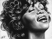Jeff Stroman Drawings Framed Prints - Whitney Houston Framed Print by Jeff Stroman