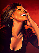 Pop Singer Painting Prints - Whitney Houston Print by Paul  Meijering