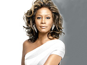 Houston - Texas Posters - Whitney Houston Portrait Poster by Sanely Great