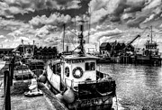Trawler Metal Prints - Whitstable harbour mono Metal Print by Ian Hufton