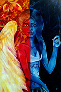 Angels Smoking Painting Prints - Who is the Angel Print by Victoria Dietz