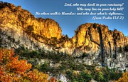 Pendleton County Posters - Who May Live on Your Holy Hill - Psalm 15.1-2 - From Alpenglow at Days End Seneca Rocks WV Poster by Michael Mazaika