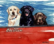 Labrador Black Labrador Posters - Whole Crew Poster by Molly Poole