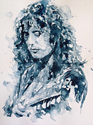 Celebrity Portrait Paintings - Whole Lotta Love Jimmy Page by Paul Lovering