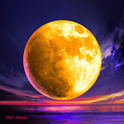 Moonscape Digital Art Prints - Whole of the Moon Print by Robin Moline