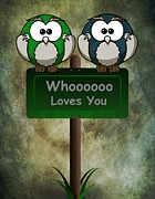Owl Metal Prints - Whoooo Loves You  Metal Print by David Dehner