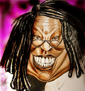 Celebrities Drawings Metal Prints - Whoopie Metal Print by Chris Benice