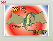 Cartoon Dinosaurs Prints - Whos Your Dragon Print by Jeffrey Jefferson