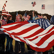 4th July Painting Posters - Whose Broad Stripes Poster by Nora Bergman