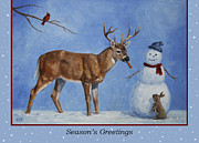 Whitetail Deer Posters - Whose Carrot Seasons Greeting Poster by Crista Forest
