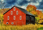 Barns Digital Art Acrylic Prints - Why Do They Paint Barns Red? Acrylic Print by Lois Bryan