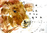 Cows Drawings Posters - Why the Flies bother the Cows Poster by Nuria Vives