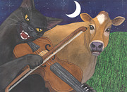 Wicked Kitty Metal Prints - Wicked Kittys Got the Fiddle Metal Print by Catherine G McElroy