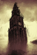 Water Color Digital Art Posters - Wicked Tower Poster by Ayse T Werner