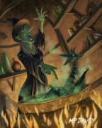 Cauldron Prints - Wicked Witch Casting Spell Print by Martin Davey
