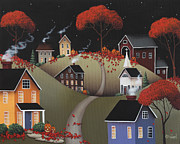 Primitive Folk Art Prints - Wickford Village Halloween ll Print by Catherine Holman