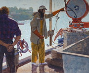 Terry Perham Art - Wieghing The Catch Graymouth by Terry Perham