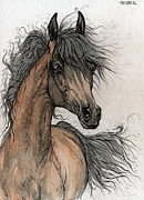 Horse Drawings - Wieza Wiatrow polish arabian mare painting by Angel  Tarantella