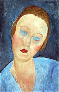 The Blue Face Framed Prints - Wife of the Painter Survage Framed Print by Amedeo Modigliani