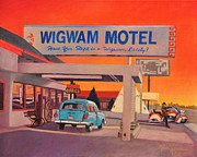 Cars Painting Framed Prints - Wigwam Motel Framed Print by Art West