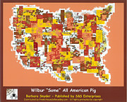 Abstract Map Prints - Wilbur Some All American Pig Print by Barbara Snyder