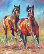 Wild Horses Painting Prints - Wild and Free Print by David Stribbling
