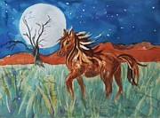 Mustang Paintings - Wild and Free by Ellen Levinson