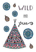 Surface Design Prints - Wild And Free Print by Susan Claire
